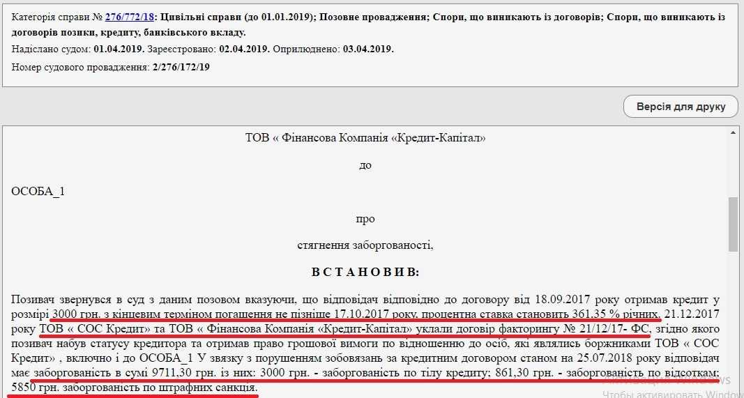 Кредит Капитал выиграл суд