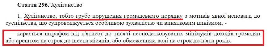 Статья 296 Криминального кодекса Украины