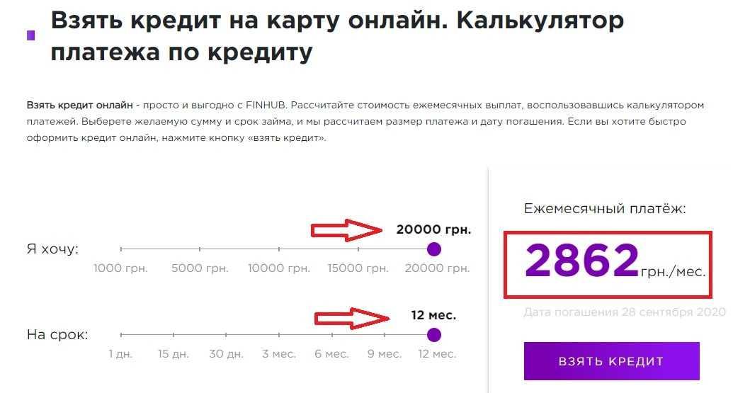 кредит до 20000 гривен на 12 месяцев