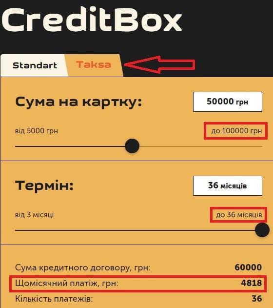 Кредит Такса від КредитБокс