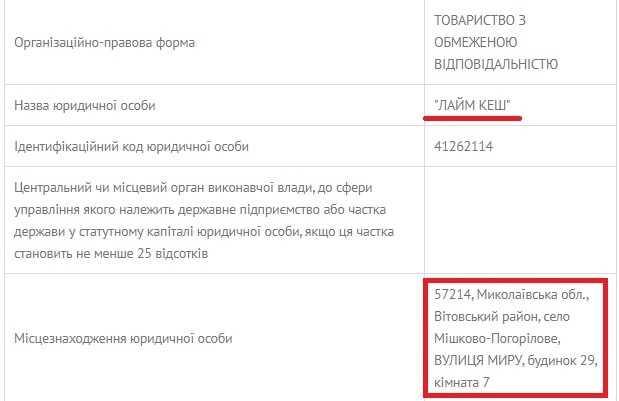 "ООО ""Лайм Кэш"" регистрация"