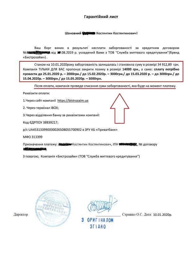 Гарантийное письмо Быстрозайм