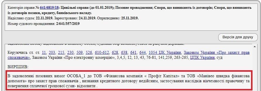 Рішення суду по кредиту Профіт Капітал