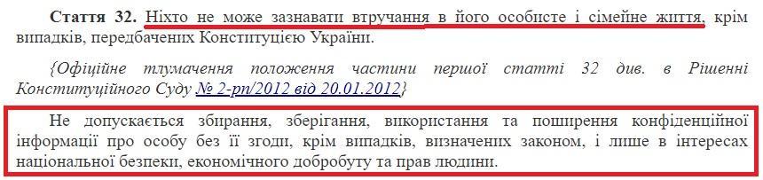 ст.32 Конституции Украины